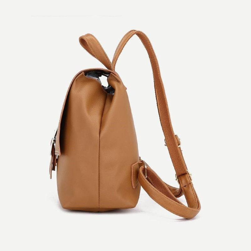 Brown Buckle Flap Backpack