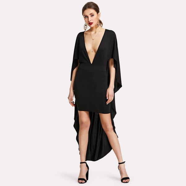 Black Deep V Neckline Pencil With Cloak
