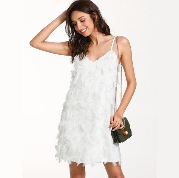 White Fringe Embellished Slip Dress