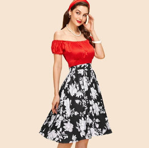 Red with Floral Print Puff Sleeve Fit & Flared Dress