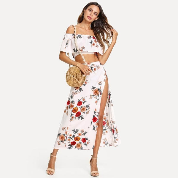 Casual Bardot Floral Print Crop Top With Slit Side Skirt