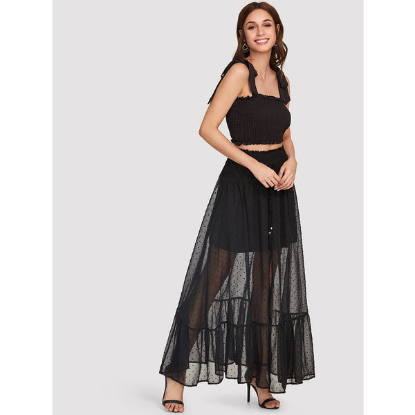 Black Shirred Waist Ruffle Hem Dot Jacquard Skirt