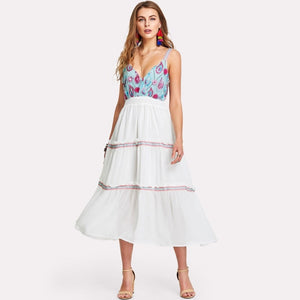 Blue Embroidered Bodice Frilled Dress