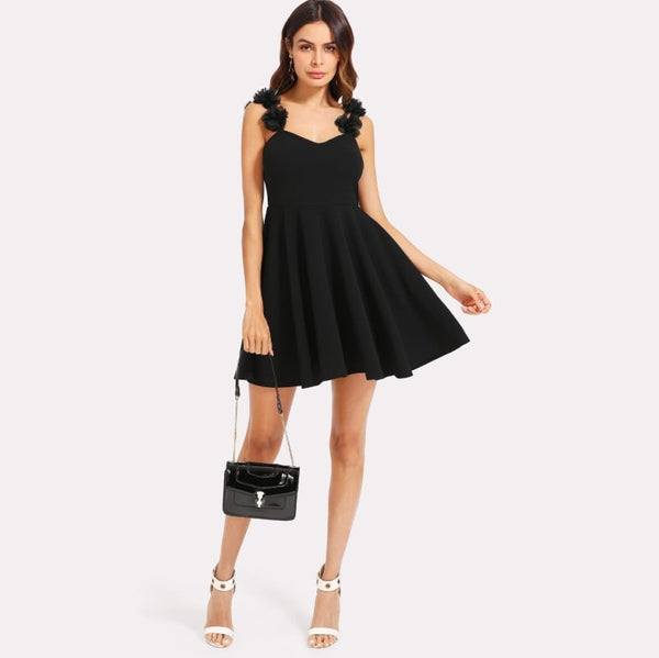 Black Flower Applique Strap Skater Dress