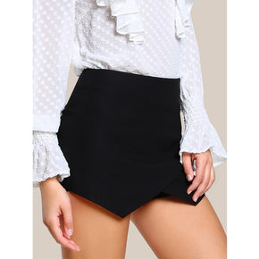 Black Zip Back Overlap Skort