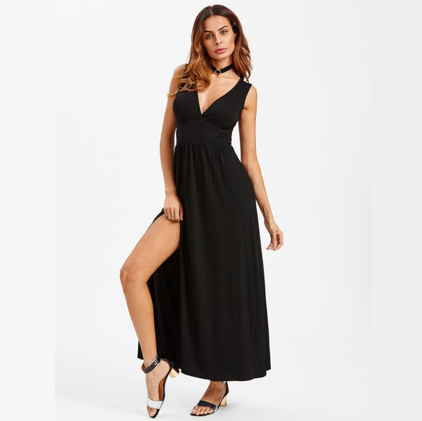 Black Deep V Neck Pleated Waist Split Dress