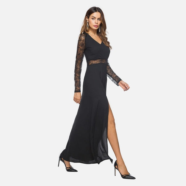 Black V Neckline Side Split Lace Panel Dress