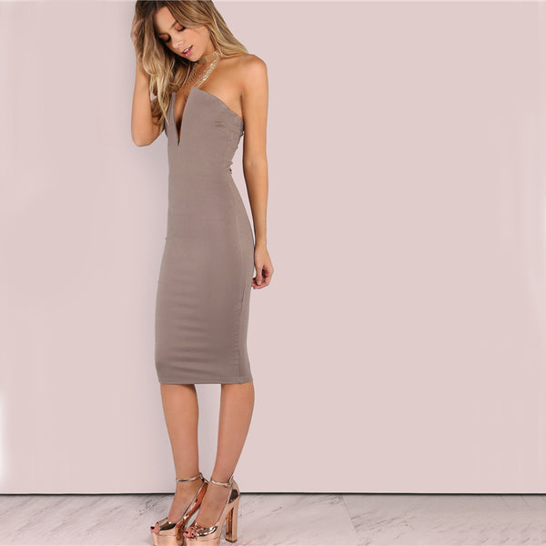 Brown Plunging Strapless Midi Bodycon Dress
