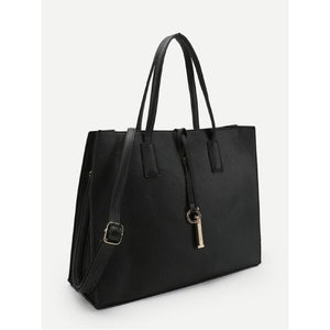 Black Ring Detail Tote Bag