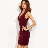 Burgundy Scallop Deep V Neck Sleeveless Plunge Bodycon Short Dress
