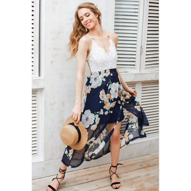 Navy Floral Print Strap Deep V Neck High Waist Beach Dress