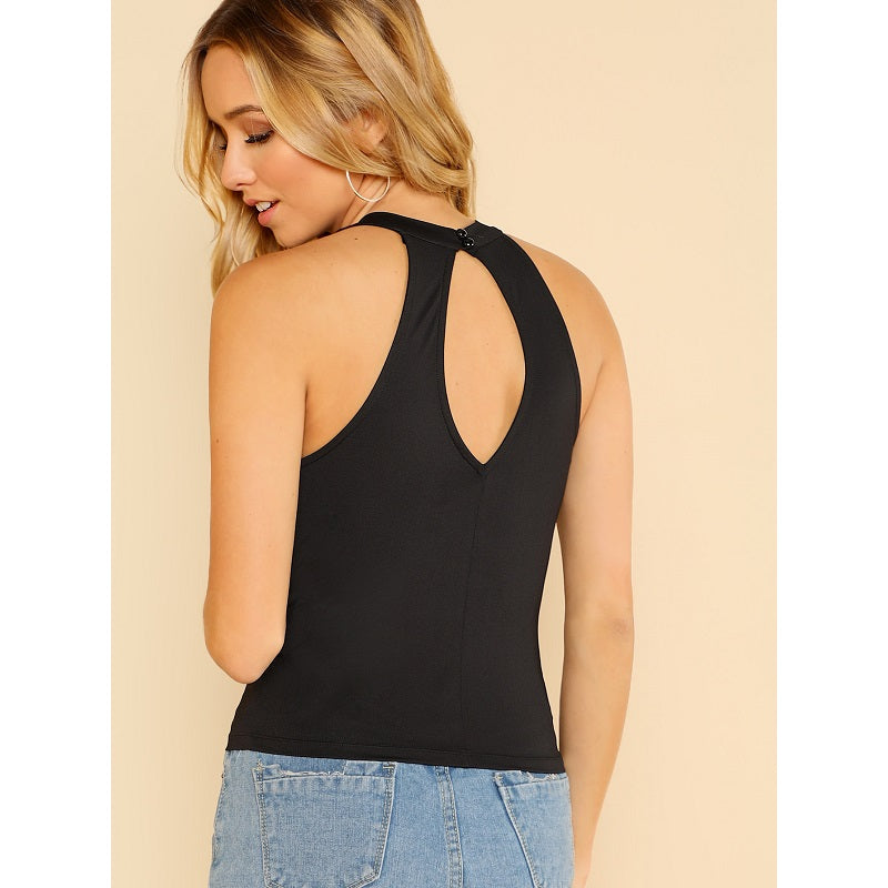Black Ruffle Trim Cut Out Back Halter Top