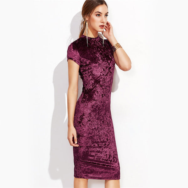 Burgundy Mock Neck Cap Sleeve Velvet Pencil Dress