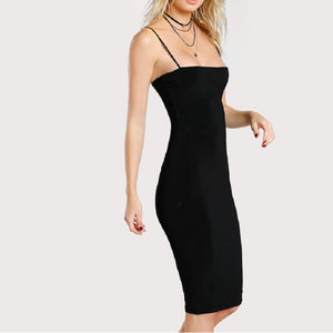 Black Solid Cami Bodycon Dress
