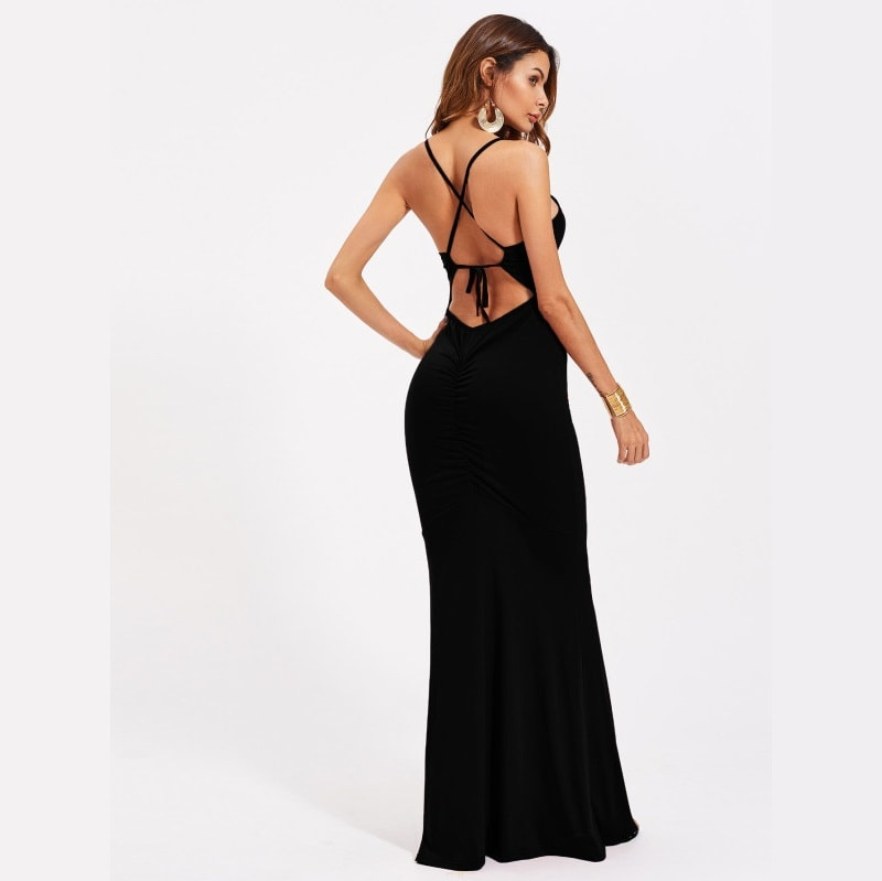 Black Criss Cross Back Self Tie Ruched Dress
