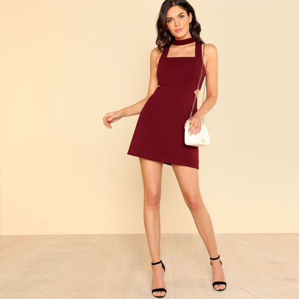 Burgundy Cut Out Side Fit & Flare Dress
