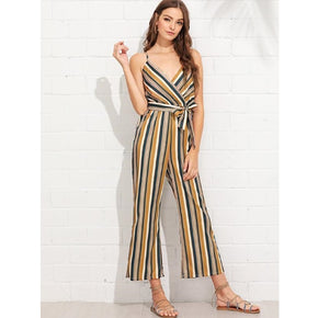 Multicolor Knot Side Striped Wrap Cami Jumpsuit