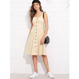 Apricot Thick Strap Button Up Dress