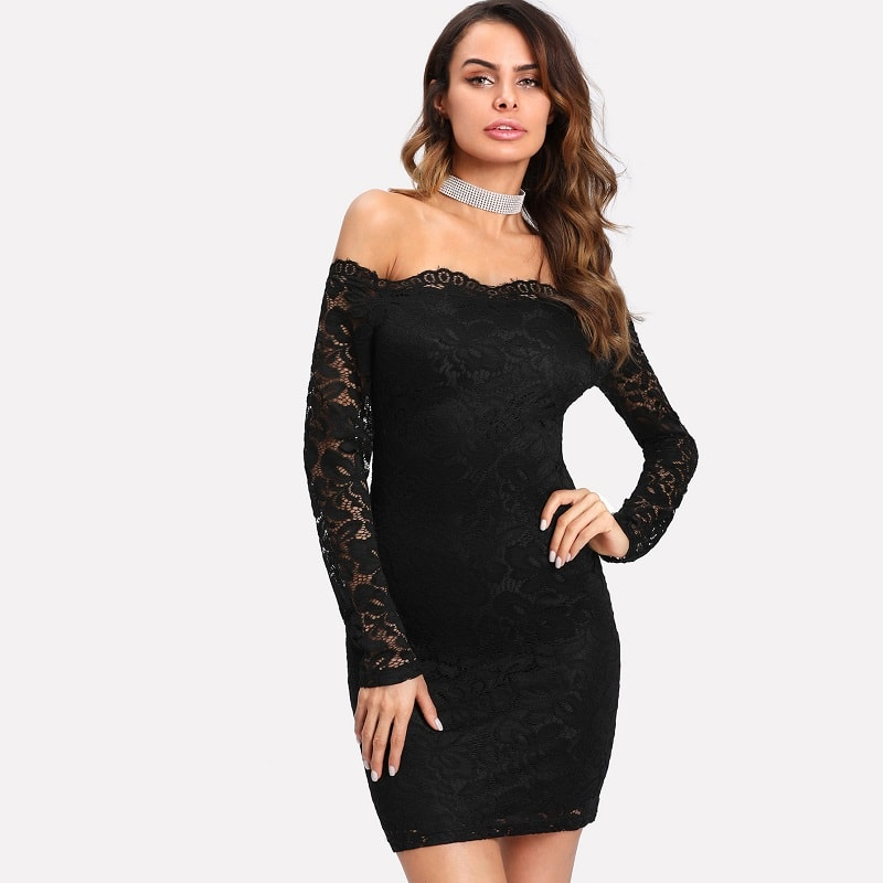 Black Floral Lace Overlay Bardot Bodycon Dress