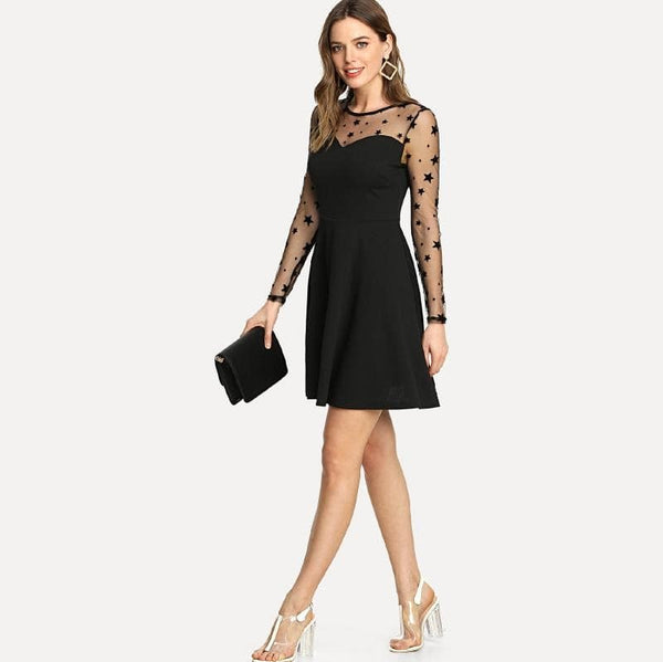 Black Star Mesh Yoke Fit & Flare Dress