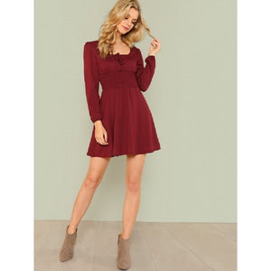 Maroon Tie Front Shirred Detail Fit & Flare Dress