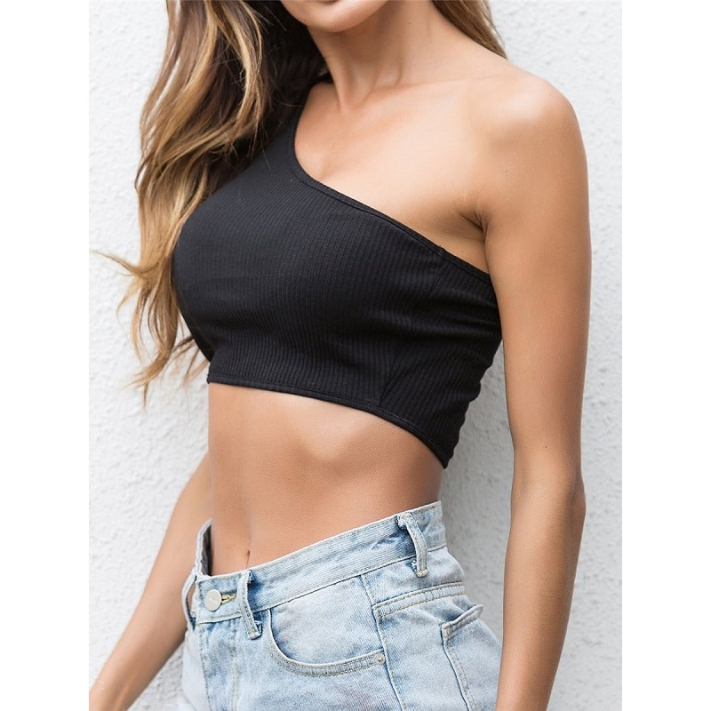 Black One Shoulder Solid Crop Top