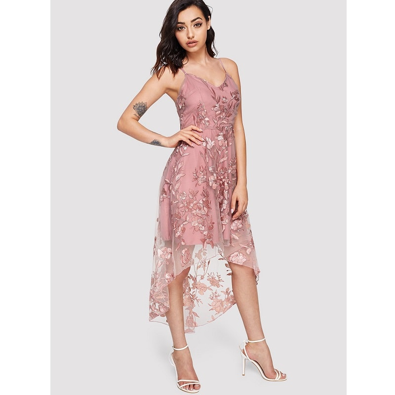 Pink Flower Applique Mesh Overlay Cami Dress