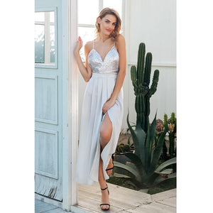 Silver Sequined Lace-up Side Split Satin Maxi Dress