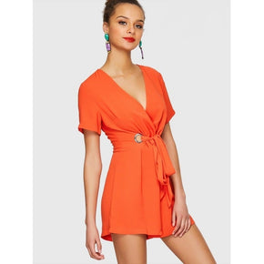 Orange Surplice Neck O-Ring Knot Romper