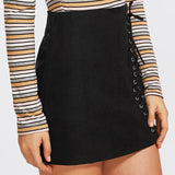 Black Grommet Lace Up Detail Skirt