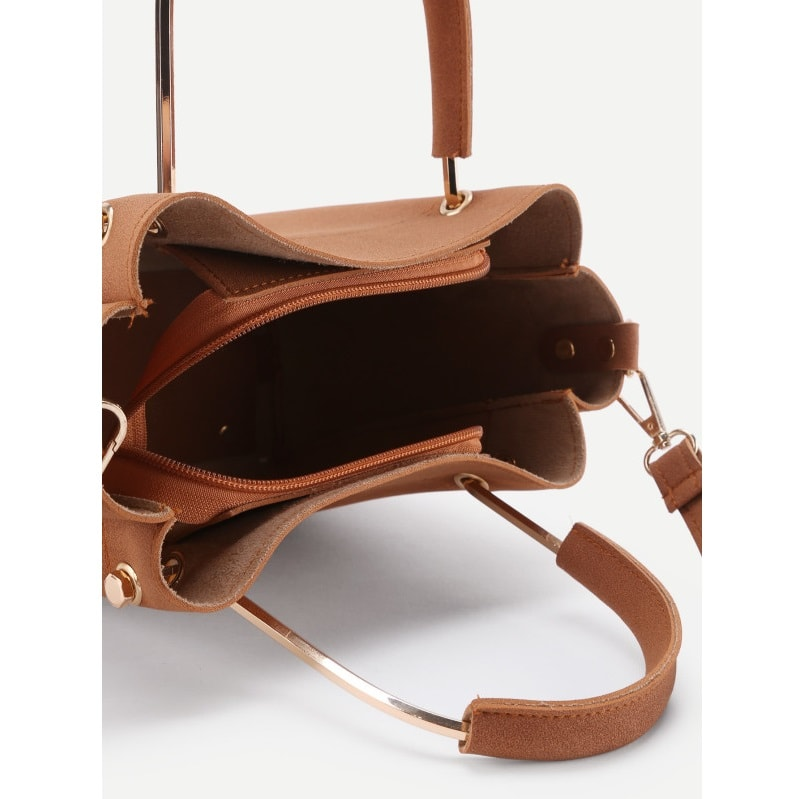Brown Suede Shoulder Bag With Inner Pouch