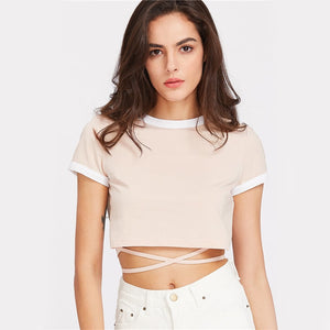 Apricot Crop Ringer Tee With Wrap Detail
