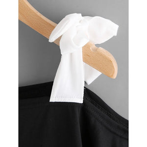 Black Asymmetrical Bow Tie Shoulder Tee