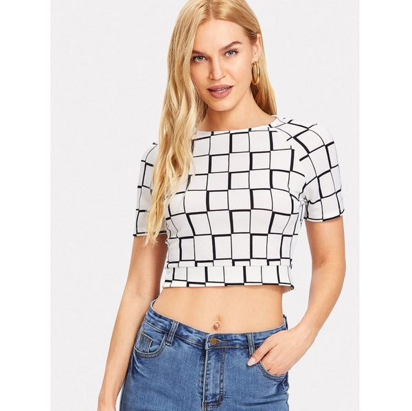 Black and white Knot Back Plaid Crop Top