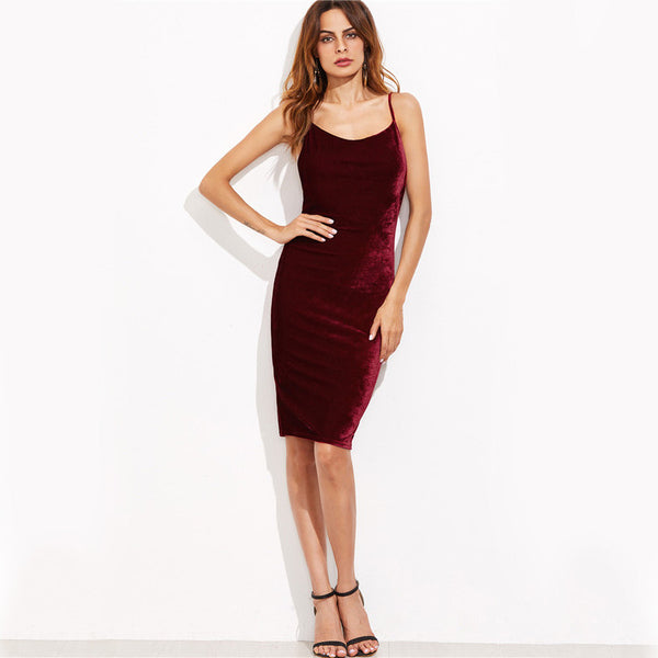 Burgundy Velvet Cami Bodycon Dress