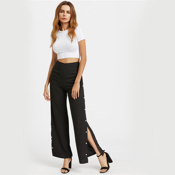 Black Elegant Split Side Tailored Pant