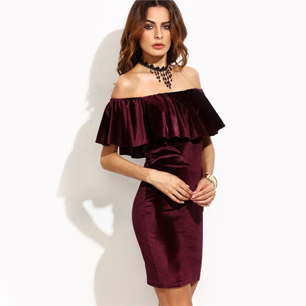 Burgundy Ruffle Off Shoulder Short Sleeve Velvet Bodycon Mini Dress