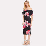 Black Flounce Bardot Neck Floral Pencil Dress