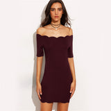Burgundy Scallop Trim Off Shoulder Bodycon Dress