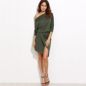 Off Shoulder Asymmetric Overlap Dress