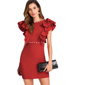 Red Pearl And Tiered Ruffle Embellished Dress
