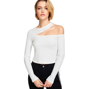 White Asymmetric Cutout Rib Knit Tee