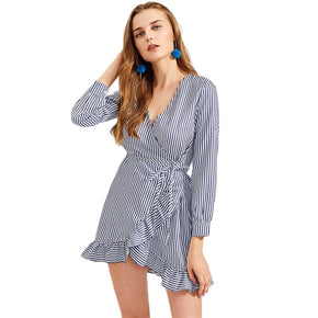 Blue Vertical Striped Frill Trim Wrap Dress