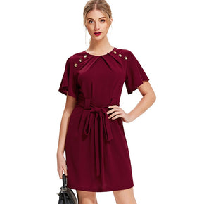 Burgundy Pleated Buttoned Neck Tie Waist Dress