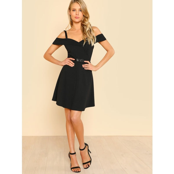 Black Fold Over Cold Shoulder Belted Dress