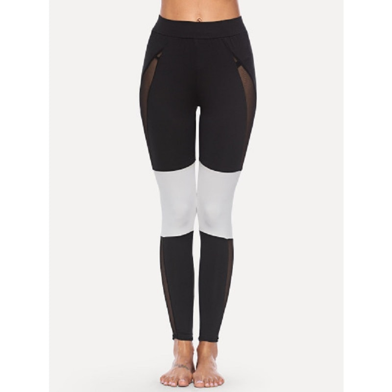 Black and White Contrast Panel Mesh Leggings