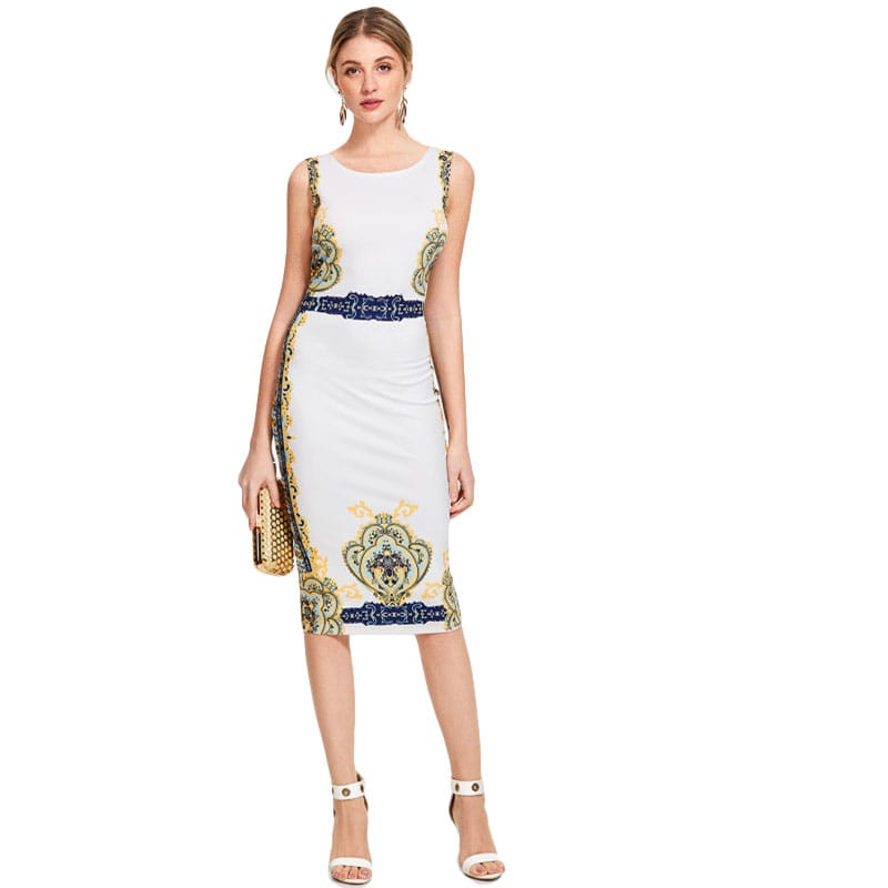 Multicolor Ornate Print Form Fitting Dress