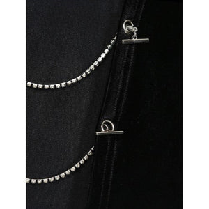 Black Velvet Chain Detail Backless Crop Tee