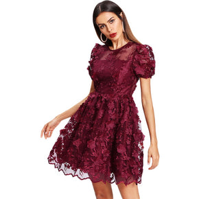 Burgundy Floral Applique Puff Sleeve Mesh Overlay Dress
