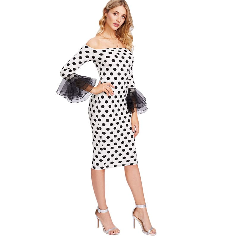 White Polka Dot Tiered Sleeve Form Fitting Dress